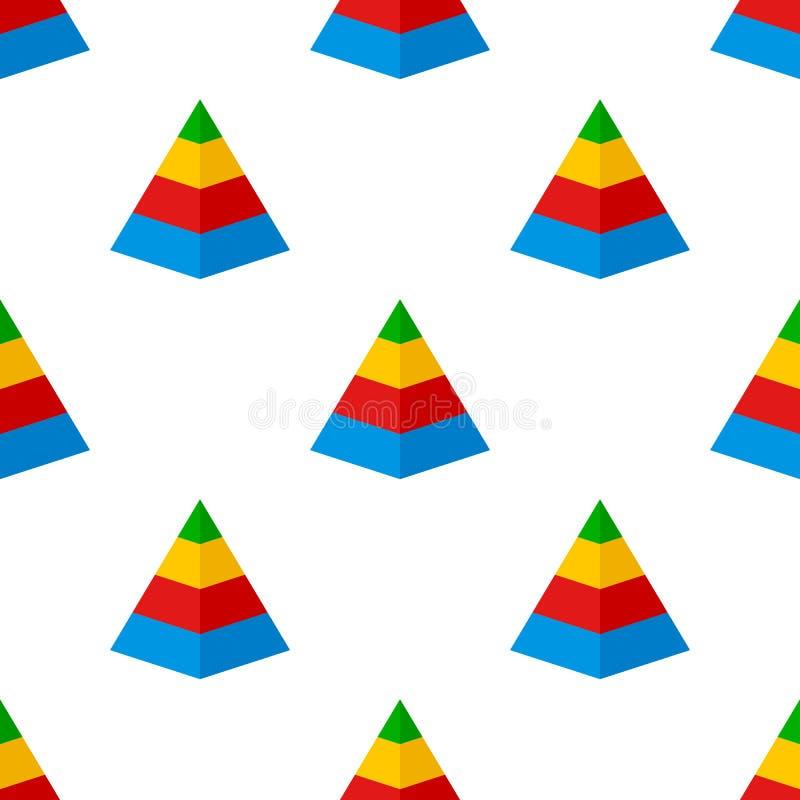 Modelo inconsútil del icono plano de la carta de la pirámide ilustración del vector