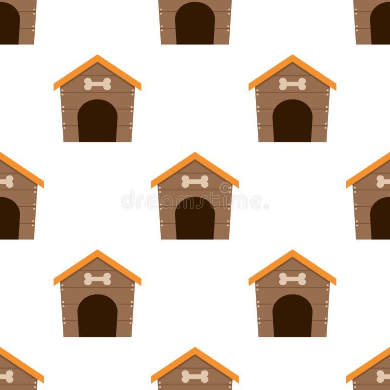 Modelo inconsútil del icono plano de la casa de perro casero stock de ilustración