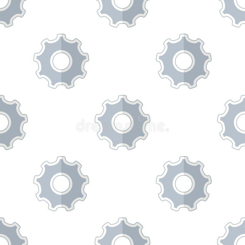 Modelo inconsútil del icono plano de la rueda de engranaje de la herramienta ilustración del vector