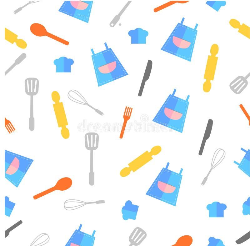 Modelo inconsútil del icono plano simple del vector, delantal y bandera etc mercancías el cocinar para el fondo, el papel de emba ilustración del vector