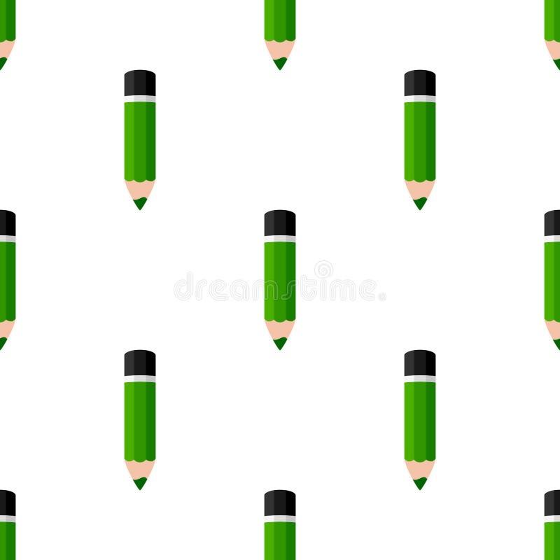 Modelo inconsútil del icono plano verde del lápiz libre illustration