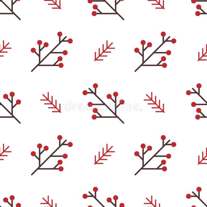 Modelo inconsútil del invierno con las bayas y las ramas rojas Fondo simple del vector del estilo geométrico nórdico libre illustration