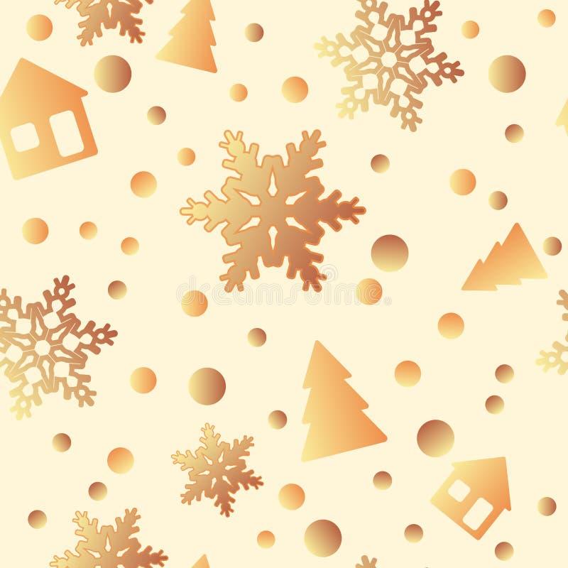 Modelo inconsútil del invierno con las chispas, árboles de navidad, copos de nieve, regalos, arcos terraplenes de modelo, textura stock de ilustración