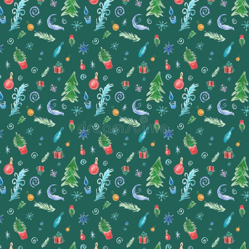 Modelo inconsútil del invierno con las decoraciones de la Navidad en fondo verde ilustración del vector
