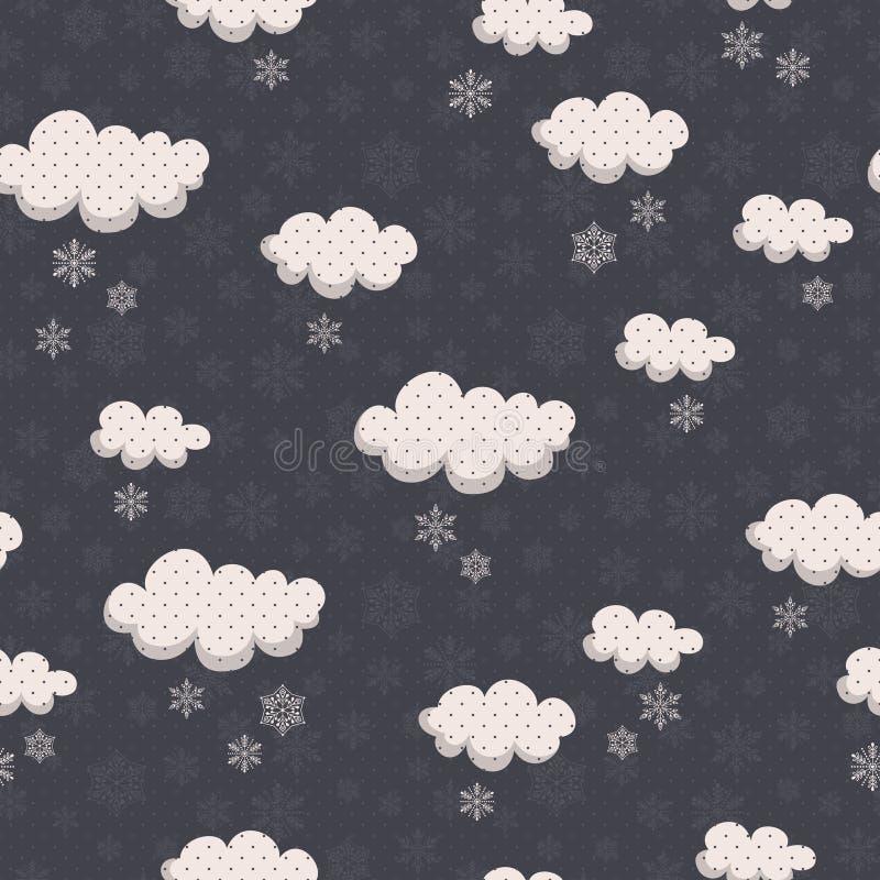Modelo inconsútil del invierno con las nubes y los copos de nieve libre illustration