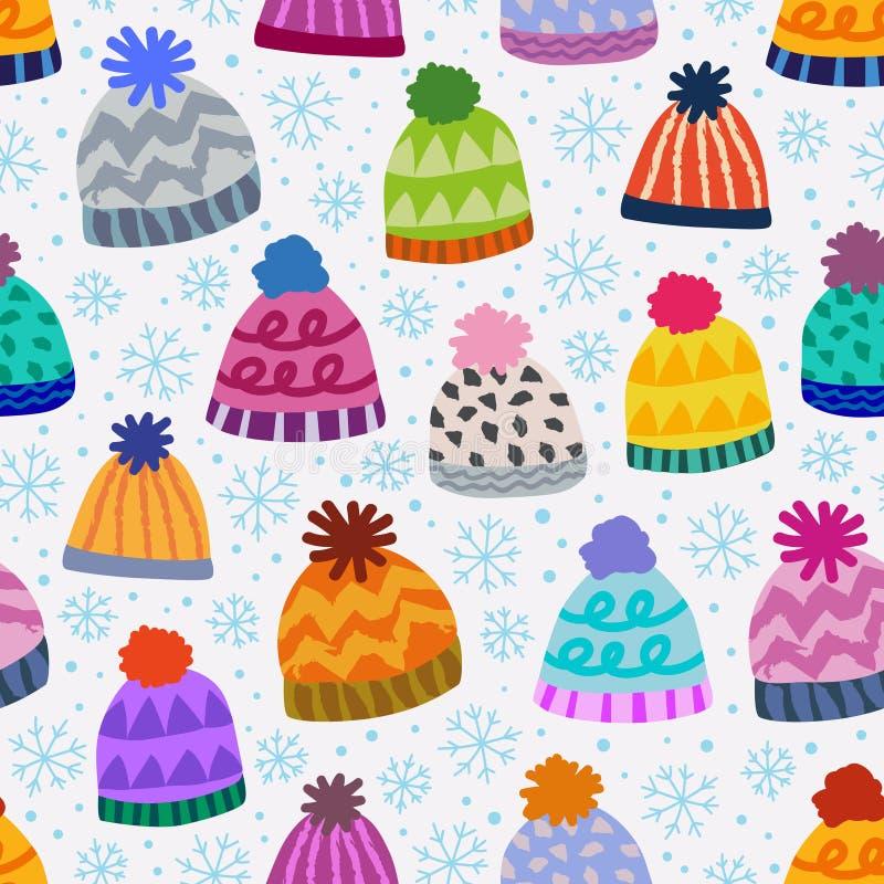 Modelo inconsútil del invierno con los casquillos y los copos de nieve stock de ilustración
