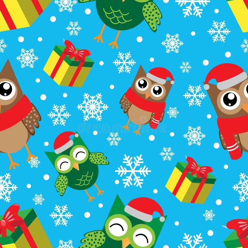 Modelo inconsútil del invierno con los copos de nieve, los búhos y los regalos Ejemplo de la Feliz Año Nuevo y del vector de la F stock de ilustración
