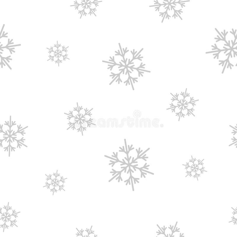 Modelo inconsútil del invierno con los copos de nieve planos del gris de plata en el fondo blanco Contexto del Año Nuevo Fondo de libre illustration