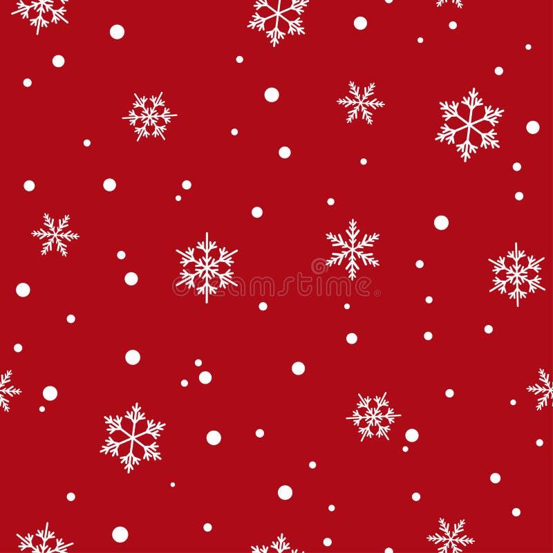 Modelo inconsútil del invierno con los copos de nieve y los puntos blancos planos en fondo rojo Contexto del Año Nuevo ilustración del vector