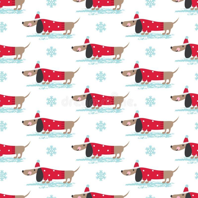 Modelo inconsútil del invierno con los perros lindos ilustración del vector
