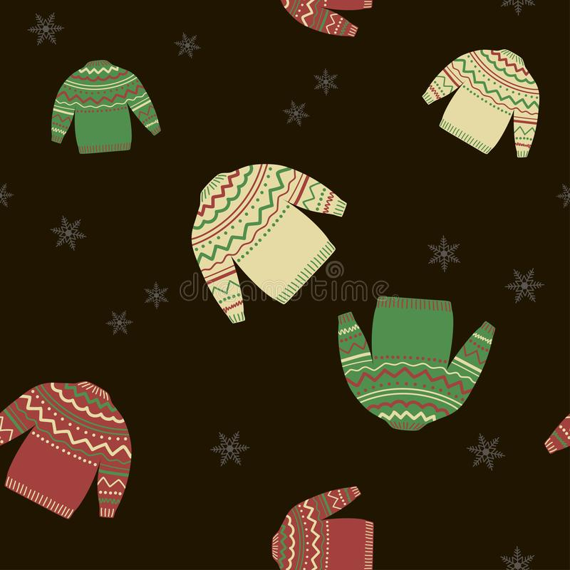 Modelo inconsútil del invierno con los suéteres y los copos de nieve en un fondo negro Vector libre illustration