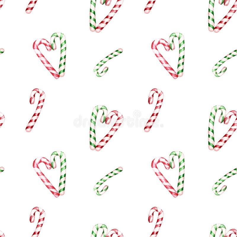 Modelo inconsútil del invierno festivo de la acuarela con los bastones de caramelo rayados verdes y rojos Diseño del día de fiest stock de ilustración