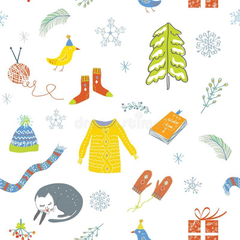 Modelo inconsútil del invierno y de la Navidad - diseño lindo ilustración del vector