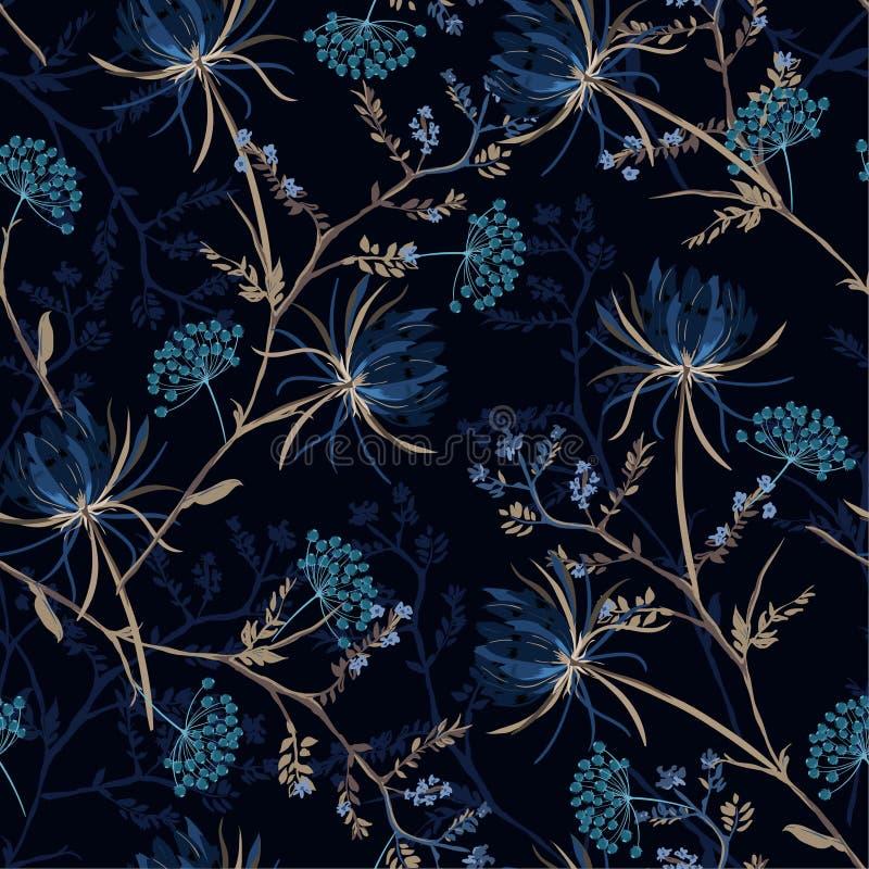 Modelo inconsútil del jardín del color azul monótono oscuro de la noche de suave stock de ilustración