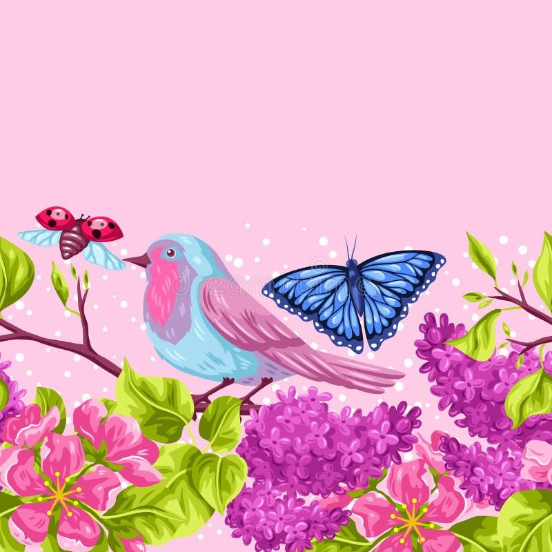 Modelo inconsútil del jardín de la primavera Ejemplo natural con la flor del flor, el chirrido del petirrojo y la mariposa libre illustration