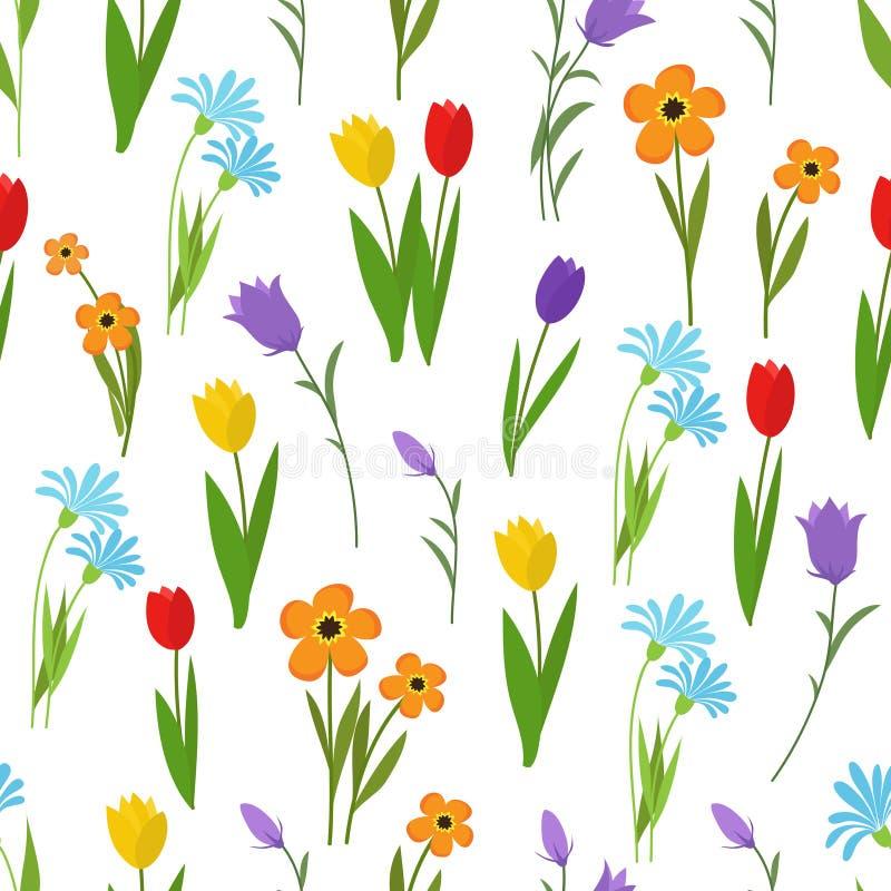 Modelo inconsútil del jardín de la primavera y del verano y de las flores salvajes Fondo floral del vector de la naturaleza stock de ilustración