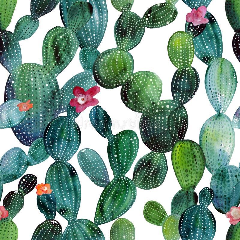 Modelo inconsútil del jardín tropical del cactus de la acuarela libre illustration