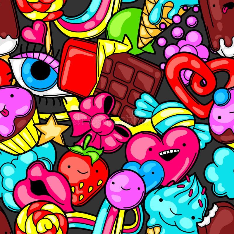 Modelo inconsútil del kawaii con los dulces y los caramelos Dulce-materia loca en estilo de la historieta ilustración del vector