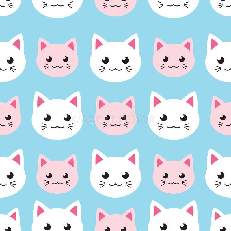 Modelo inconsútil del kawaii con los gatos lindos libre illustration