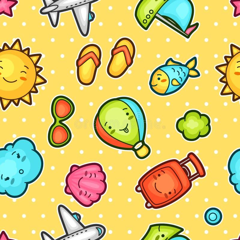 Modelo inconsútil del kawaii del viaje con garabatos lindos Colección de verano de personajes de dibujos animados alegres sol, ae libre illustration