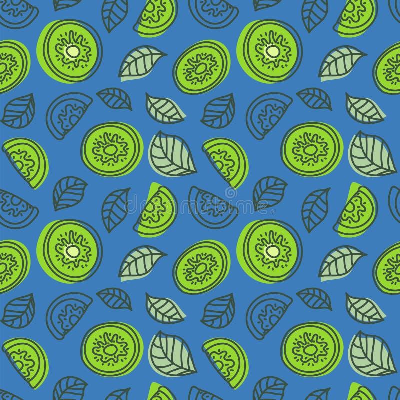 Modelo inconsútil del kiwi Fruta tropical fresca dibujada mano Multicol stock de ilustración