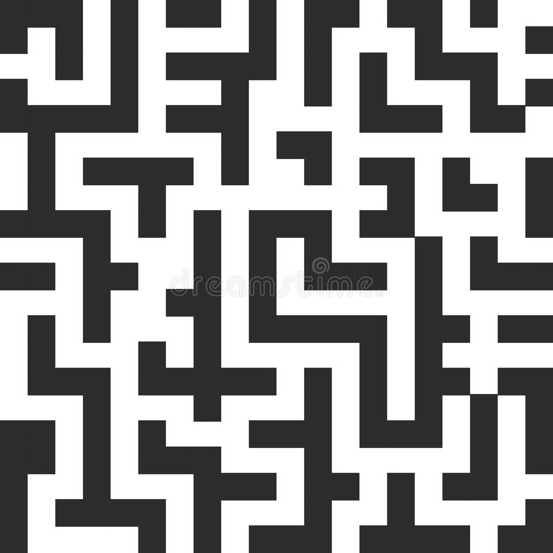 Modelo inconsútil del laberinto Las líneas del negro en el fondo blanco Vector ilustración del vector