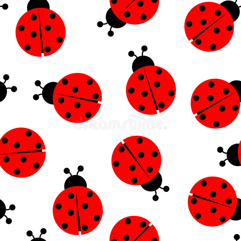 Modelo inconsútil del Ladybug stock de ilustración