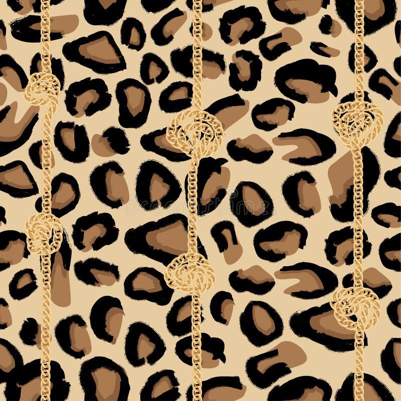 Modelo inconsútil del leopardo con la cadena de oro y los nudos stock de ilustración