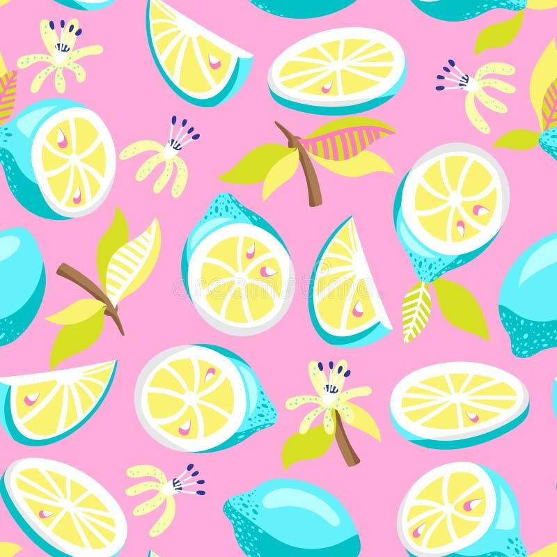 Modelo inconsútil del limón stock de ilustración