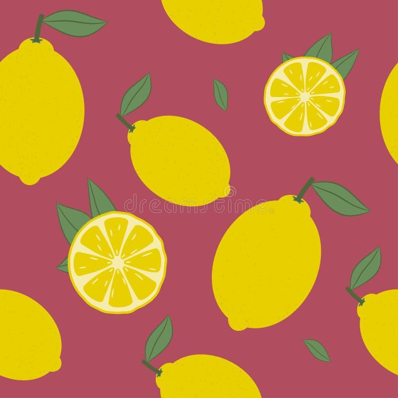 Modelo inconsútil del limón Agrios frescos con el fondo de la hoja Vector libre illustration