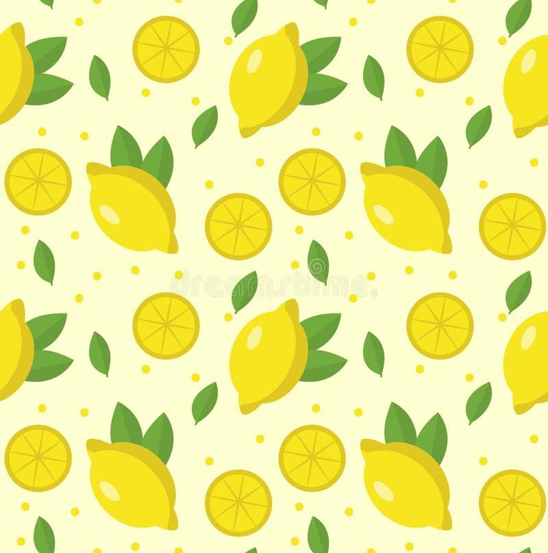 Modelo inconsútil del limón Fondo sin fin de la limonada, textura Da fruto el fondo Ilustración del vector libre illustration