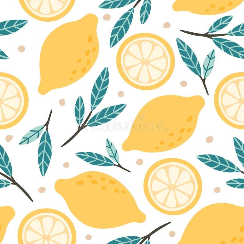 Modelo inconsútil del limón Mezcla exhausta de la fruta cítrica del garabato de la mano, slises de los limones y ejemplo verde de libre illustration
