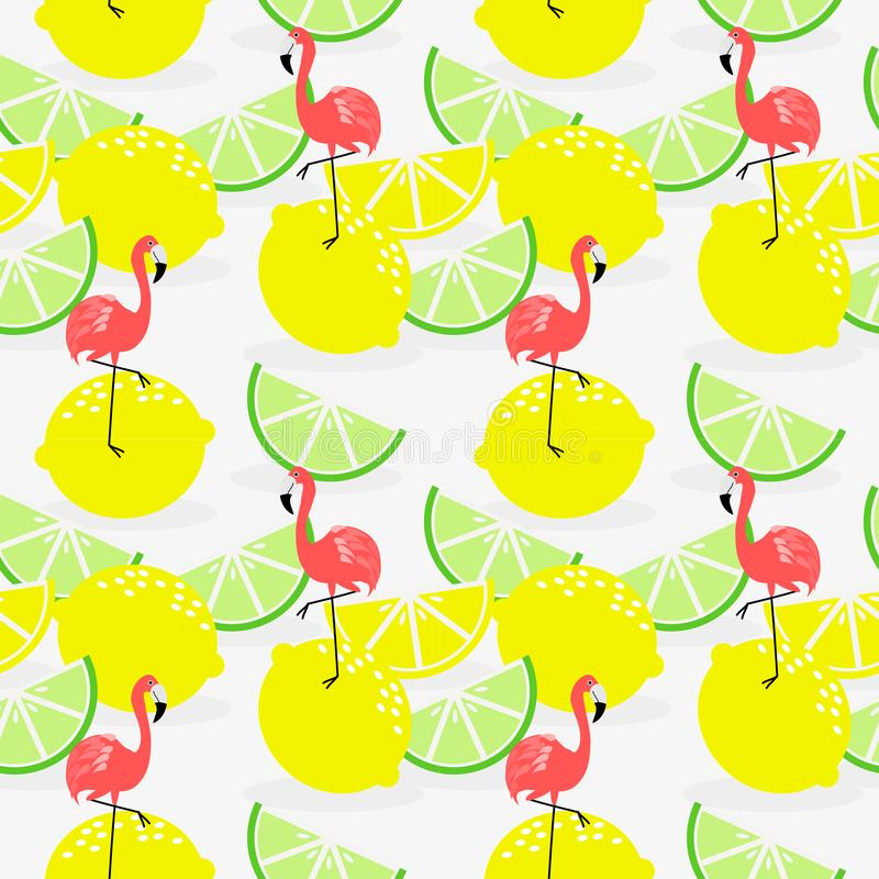Modelo inconsútil del limón y del flamenco del verano ilustración del vector