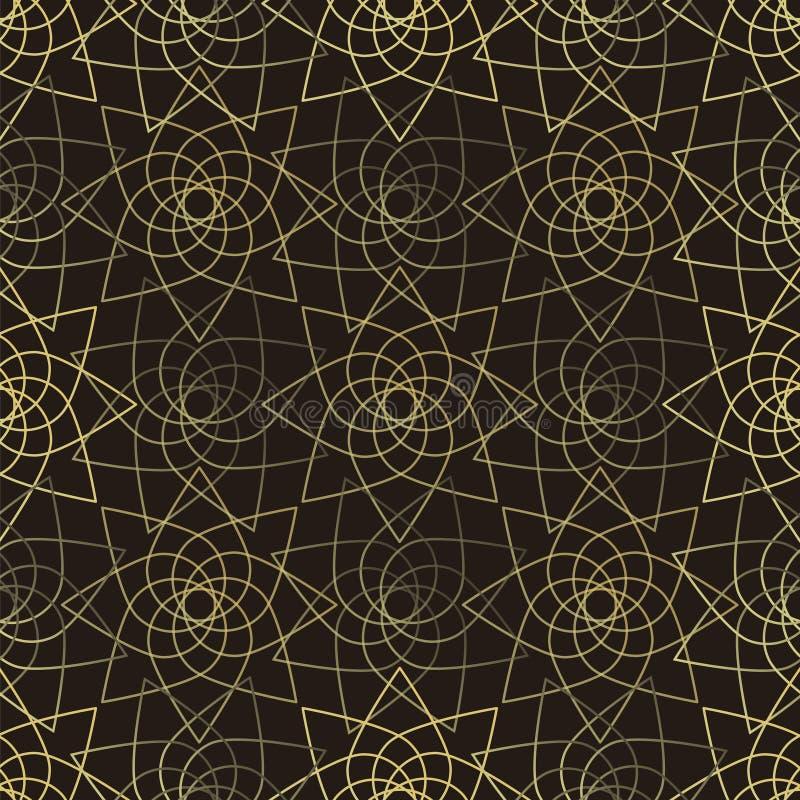 Modelo inconsútil del loto de oro ilustración del vector