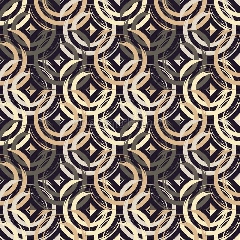 Modelo inconsútil del lunar Círculos en el cuadrado Trama manual brushwork Textura del garabato stock de ilustración