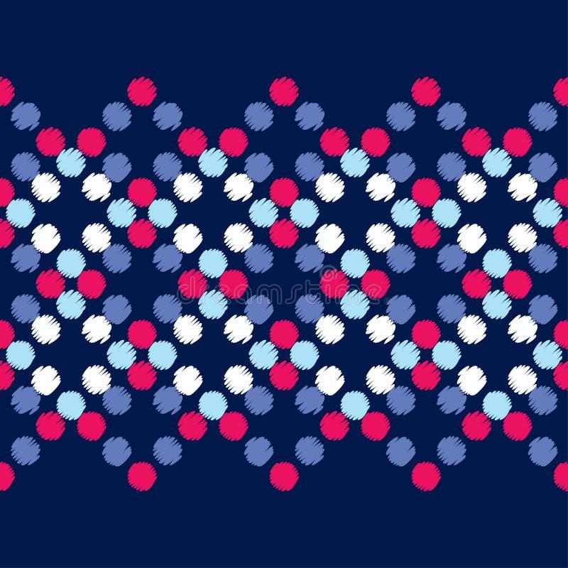Modelo inconsútil del lunar Trama de la mano brushwork Fondo geométrico Textura del garabato stock de ilustración