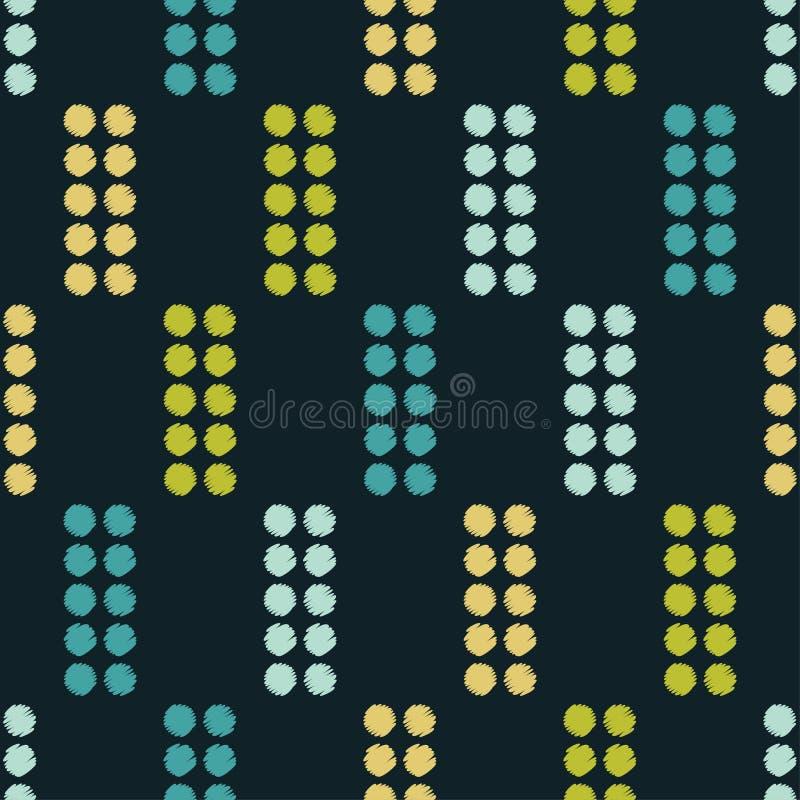 Modelo inconsútil del lunar Trama de la mano brushwork halftone Fondo geométrico Textura del garabato stock de ilustración
