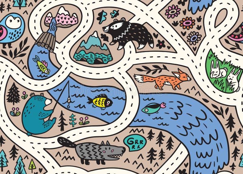 Modelo inconsútil del mapa del paisaje del bosque con los caminos, los animales salvajes, el río y la montaña Ilustraci?n del vec ilustración del vector