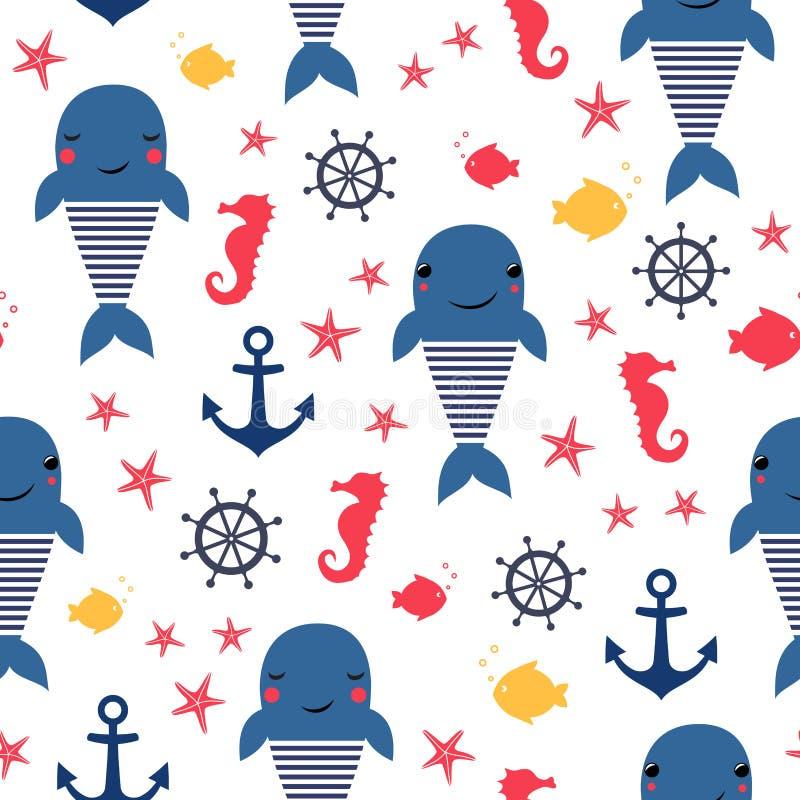 Modelo inconsútil del mar: ballena, ancla y seahorse stock de ilustración
