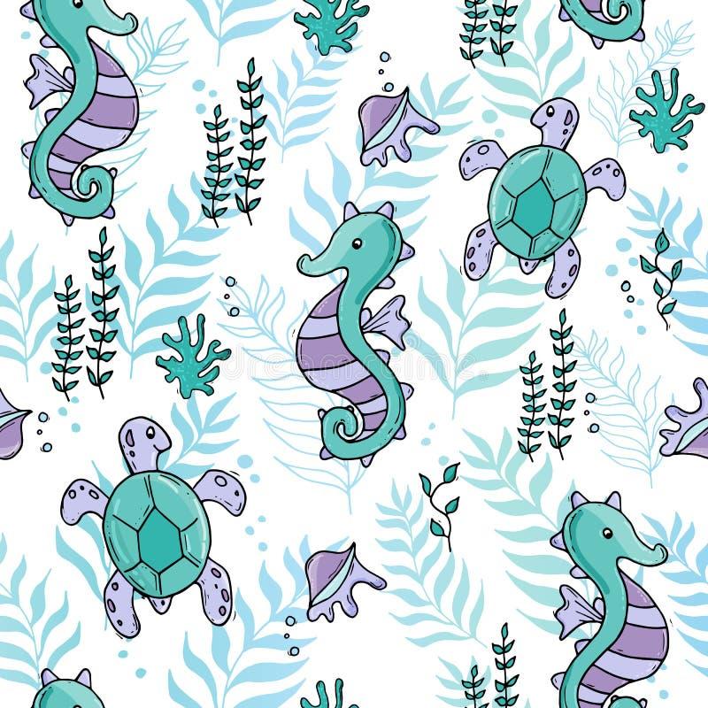 Modelo inconsútil del mar de la selva del color en colores pastel con el seahorse y tartle y cáscaras ilustración del vector