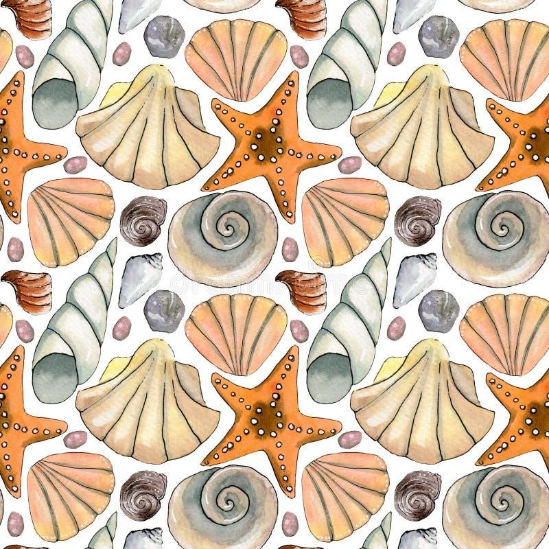 Modelo inconsútil del mar exhausto de la mano con las cáscaras del mar, estrellas de mar, piedras libre illustration