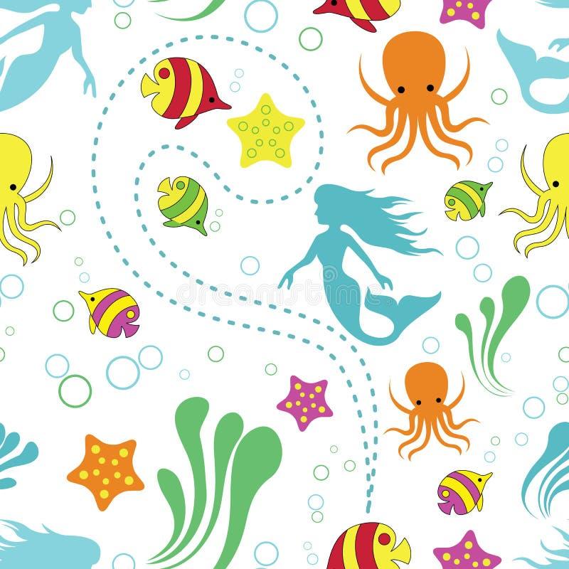Modelo inconsútil del mar profundo del vector hermoso de la maravilla libre illustration