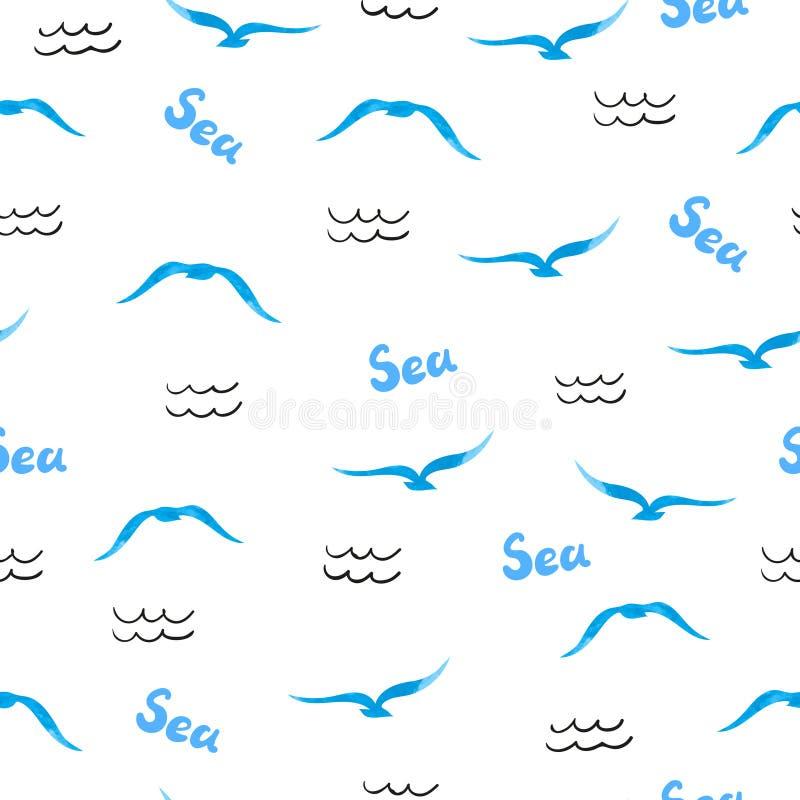 Modelo inconsútil del mar Siluetas de las gaviotas de la acuarela libre illustration