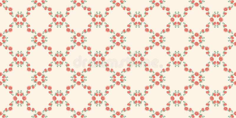 Modelo inconsútil del marco de amapolas y de brotes abstractos de amapolas de una forma de lujo en un fondo poner crema wallpaper libre illustration