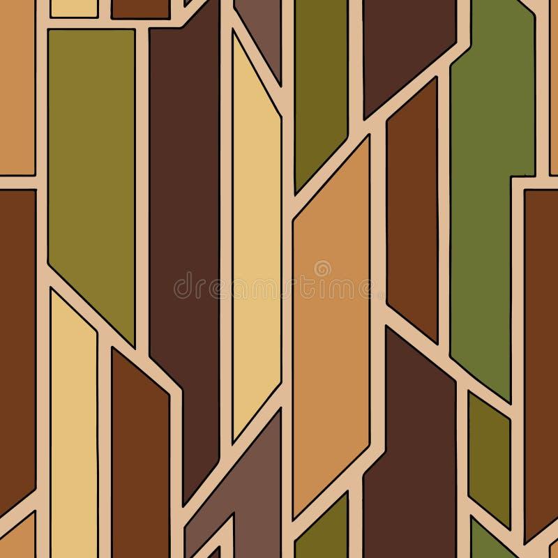Modelo inconsútil del marrón geométrico del vector con diversas formas geométricas Cuadrado, triángulo, rectángulo Techno moderno stock de ilustración