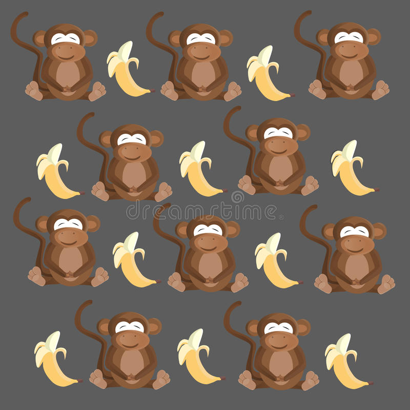 Modelo inconsútil del mono y del plátano stock de ilustración