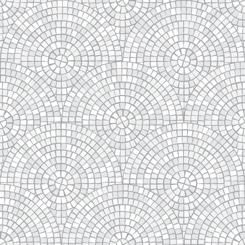 Modelo inconsútil del mosaico abstracto Fragmentos de un círculo presentado de trencadis de las tejas Fondo del vector stock de ilustración