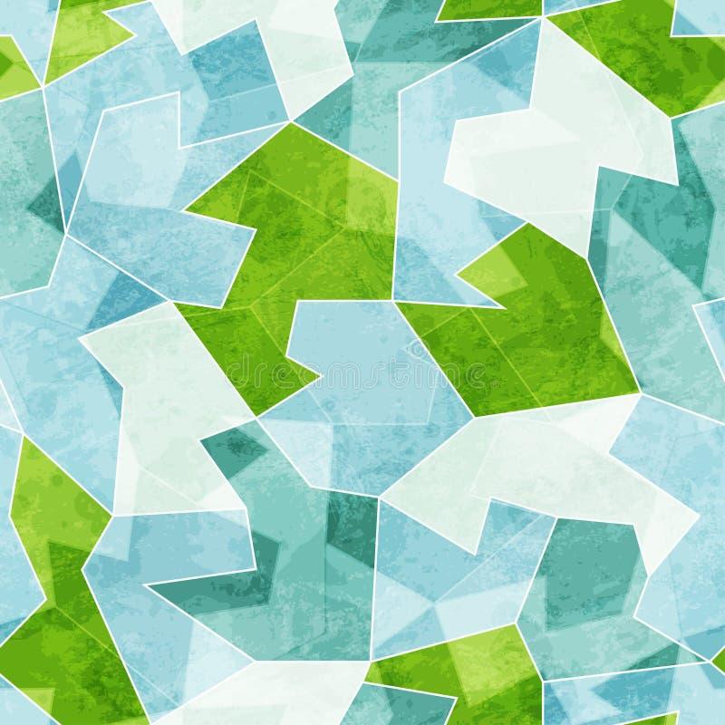 Modelo inconsútil del mosaico azul abstracto con efecto del grunge stock de ilustración