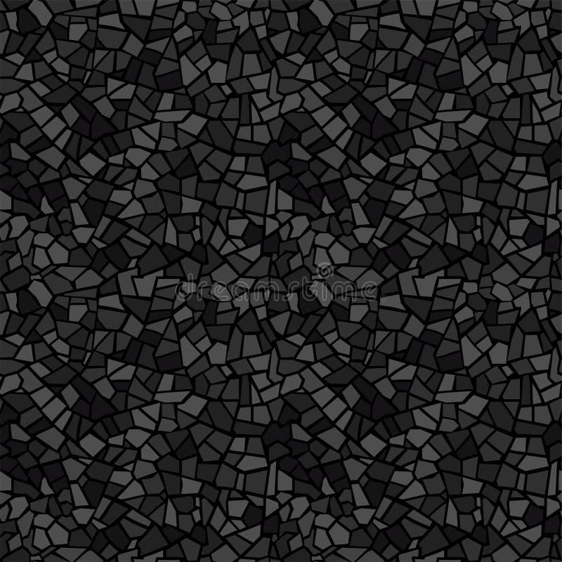 Modelo inconsútil del mosaico del extracto del negro oscuro Fondo del vector Textura sin fin Fragmentos rotos de cerámica de la t libre illustration