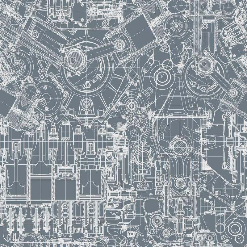 Modelo inconsútil del motor del dibujo, fondo El modelo inconsútil se puede utilizar para el papel pintado, terraplenes de modelo ilustración del vector